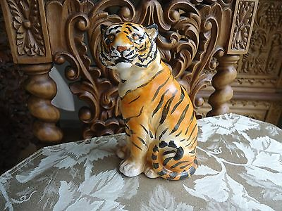 Hand Painted Ceramic Sitting Tiger pottery Statue Animal Figurine Made Italy