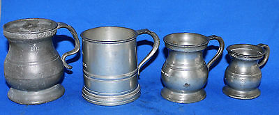 Four Pewter Tankards, two 1 gill, one Half gill, one ¼ gill;