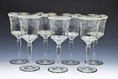 Gorgeous Antique Stemmed Etched Silver Rim Wine Glass- Set of 7