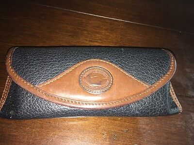 VINTAGE Dooney & Bourke Pebble Leather Brown Hard Eyeglass Sunglasses Case