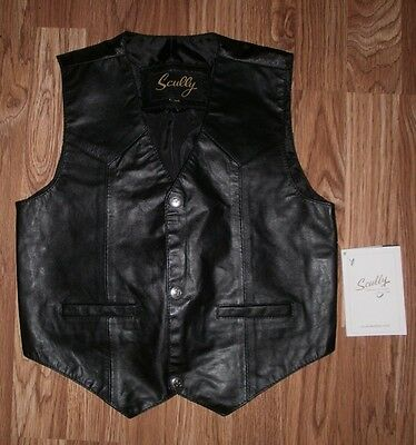 NEW BOYS SCULLY  sz M 8-10 Black LEATHER Lined Rodeo WESTERN VEST ~ SNAP FRONT