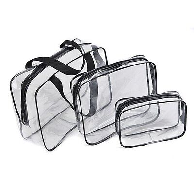 Hot 3pcs Clear Cosmetic Toiletry PVC Travel Wash Makeup Bag (Black) CT P4B8