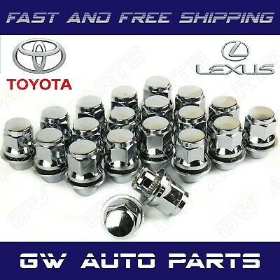 24PCs TOYOTA-LEXUS OEM/FACTORY STYLE CHROME MAG LUG NUTS WITH WASHERS 12X1.5MM