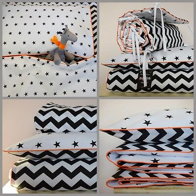 100% COTTON Cot Bed Duvet Cover Set & Bumper fitted sheet Black Chevron Stars