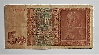 Ww2 1942 Original Nazi German Banknote 5 Reichsmark *d* Good Condition