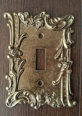 Vintage Ornate Floral Flowers Filigree  Brass Single Switch Plate Cover