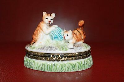 Tabby Kittens Cats with Yarn Ball Porcelain Trinket Box
