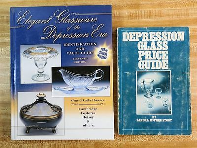 Lot of 2 DEPRESSION GLASS Identification & Price Guide Books, Florence & Stout
