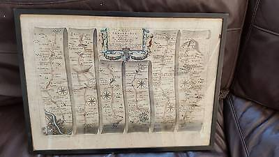 ANTIQUE MAP: London to Rye (Printed 1930's, Original Hand Drawing 1675)