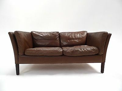 Vintage Danish Olive Brown Leather 2 Seater Sofa Midcentury 1960s