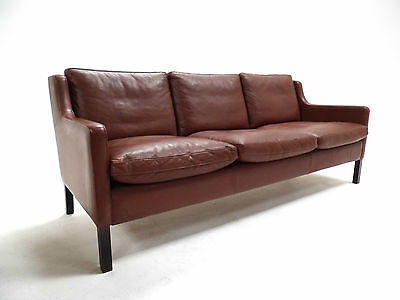 Vintage Danish Stouby Brown Leather 3 Seater Sofa Midcentury 1960s