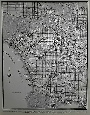 Nice Vintage 1939 World War WWII Era Atlas City Map Los Angeles California CA LA