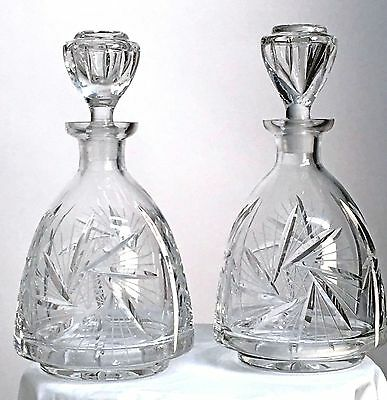 Pair Cut Lead Crystal Rounded Liqueur Decanters