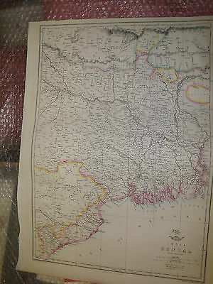India Bengal map Weekly Dispatch Atlas ci1863 Engraved by E.Weller Framed 20more