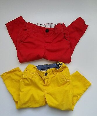 H&M Toddler Boy Cotton Pants Red & Yellow Size 12-18 Months
