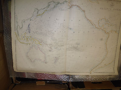 Pacific Ocean map Dispatch Atlas cir 1860 engravedE.Weller 45 x65 cmFramed40more