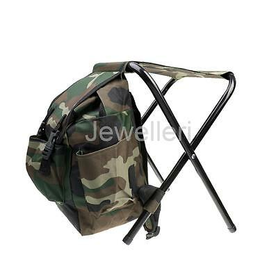 2 in 1 Fishing Stool Tackle Backpack Foldable Seat Camping Hunting Rucksack