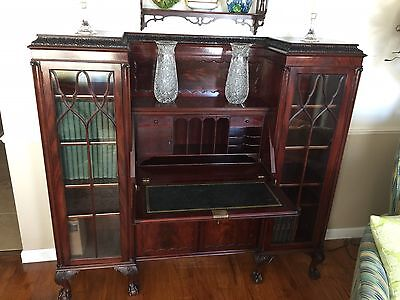 Outstanding Mahogany Antique English Secretary Side By Side Bookcase Ca 1900