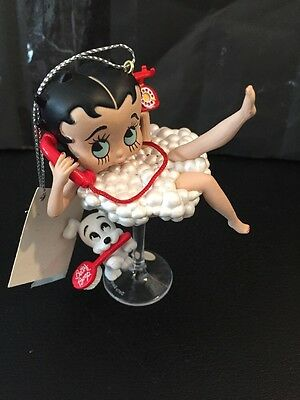 Betty Boop W/ Pudgy In Martini Glass  Talking On The Phone Sound Ornament ☎️��☎️