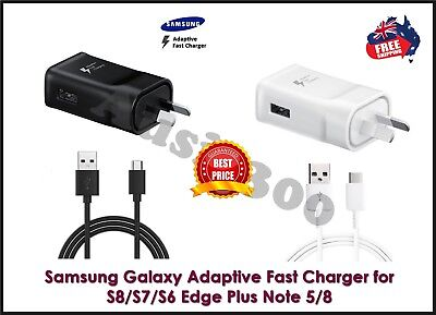 Genuine Samsung Galaxy S8/S9 Note 9 Adaptive Fast Wall Charger+USB Type-C Cable