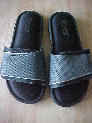 Champion Men's Size 7 Gray Memory Foam Slippers / Slides Adjustable Width