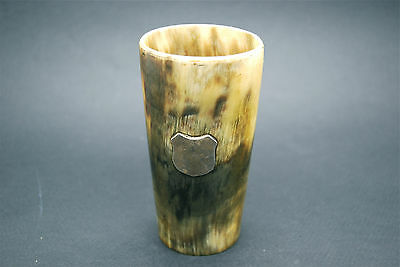 SCOTTISH VICTORIAN / GEORGIAN c1850 SOLID SILVER & HORN BEAKER / CUP, HUNTING