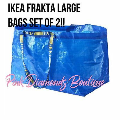 IKEA FRAKTA X2 Large Blue Shopping Groceries Laundry Storage Tote Bags