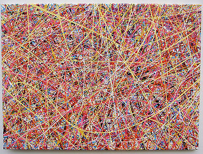 Large Modern Art Drip & Splatter Abstract Painting On Canvas With Yellow & Red
