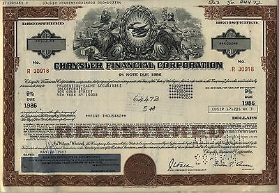 Chrysler Financial Corporation Bond Stock Certificate