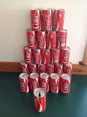 Vintage Coca Cola Cans Lot Of 24 Most Unopened Full 1980 Olymics + 1970 Coke Can
