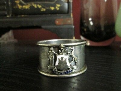 ANTIQUE SOUVENIR SILVERPLATE EDINBURGH Napkin Ring EPNS w Enamel COAT of ARMS!