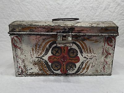 Antique 19th.c Pennsylvania Tin Toleware Lunch or Document Box w Original Paint