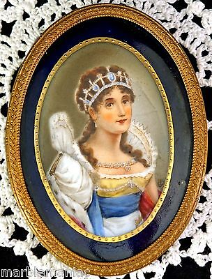 Lovely Old Oval Porcelain Portrait Plaque Girl with Crown KPM Quality Germany