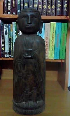 Rare Antique Vietnamese Wood Carved Sculpture Amitabha Buddha Statue