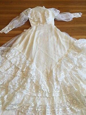 Wedding Dress Alfred Angelo Victorian Boho M 12 Vintage Daisy Lace Ruffles Veil