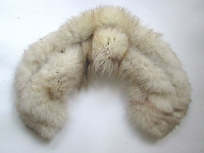 Vintage huge gray white real fox fur collar pink satin lining