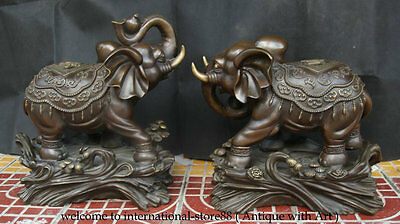 "17"" China Red Bronze Copper Fengshui Lucky Animal Elephant Elephants Pair Statue"
