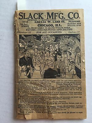 Rare 1934 Slack Mfg Co Novelty / Party Products Catalog #137 Has Noisemakers