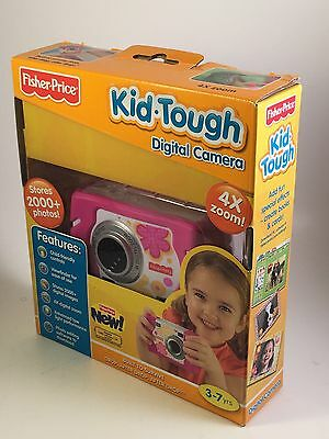 Fisher Price Kid Tough Pink Digital Camera 4X Zoom Toy Flowers Girls Works Y8860