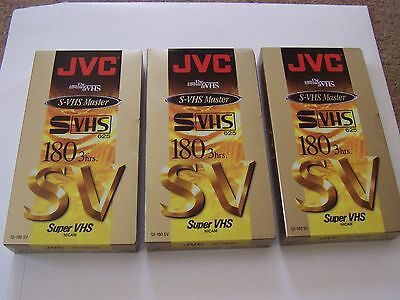 3 NUMBER , JVC S-VHS Master SE-180 SV, 180 minute Video Cassette . NEW SEALED
