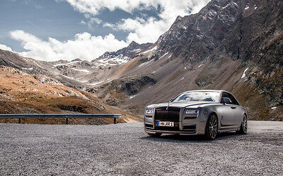 """GORGEOUS ROLLS ROYCE GHOST A1 CANVAS PRINT POSTER FRAMED 33.1"""" x 21.4"""""""