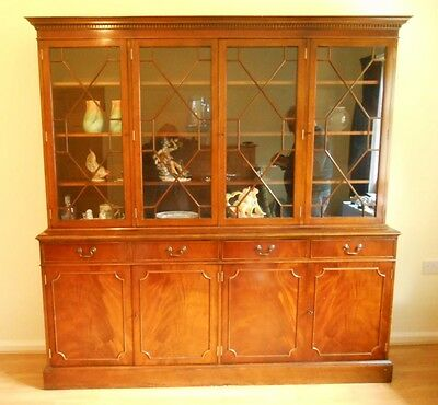 Vintage Astral Glazed Yew / Flame Wood Bookcase/China Cabinet over 4 Cupboards