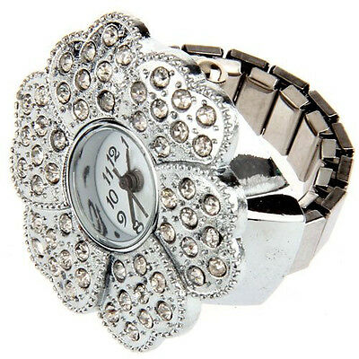 "Silver Tone Flower Metal Pocket Finger Ring Watch 1.1"" CT S0M6"