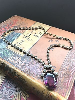 Edwardian Lavalier Crystal Drop Necklace Large Purple Stone 1900-1910