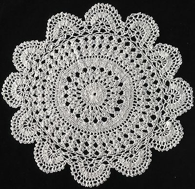 "White Hand Crocheted Large Doiley / Doily / Doilie Table Centre 13"" 33Cm"