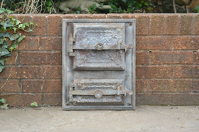 37 x 46.5 cm old cast iron fire bread oven door doors flue clay range pizza