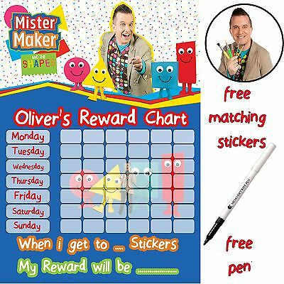 Mr Maker Reusable Potty Training Reward Chart, free Stickers & pen, MAGNETIC