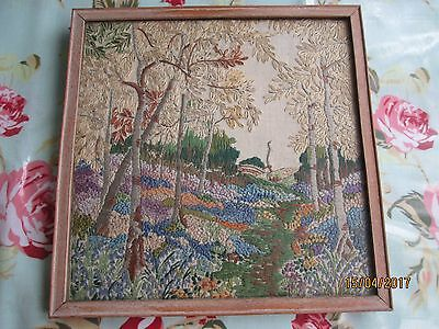 Vintage embroidered picture of a woodland walk