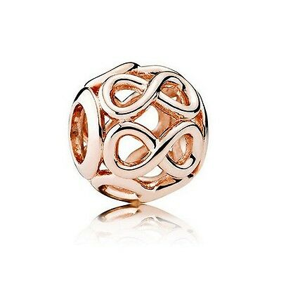 S925 Sterling Silver EUROPEAN Charm 14K Rose Gold PL Infinity Openwork