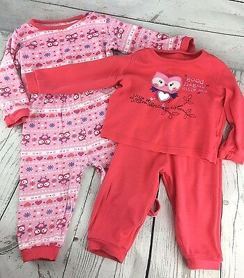 2 Sets Pink Pijamas Baby Girl With Owls 12-18 Months